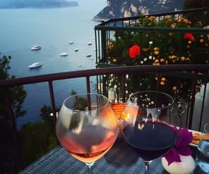 wine, flowers, and romantic image