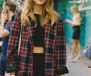 black, plaid, and girl image