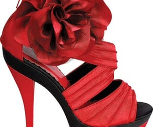 red platform heels, red sexy heels, and heels with flower image
