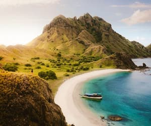 beach, beautiful, and mountains image