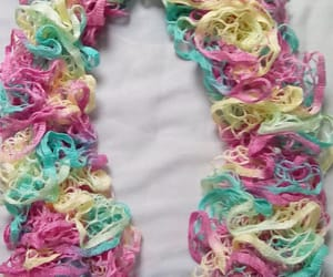 fashion scarf, ladies knit scarf, and pastel ruffle scarf image