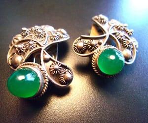earrings, green, and vintage earrings image