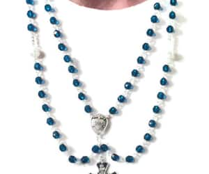 sacred heart, rosary necklace, and crossnecklace image