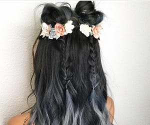 braids, flowers, and grey image