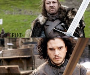 jon snow, eddard stark, and game ot thrones image