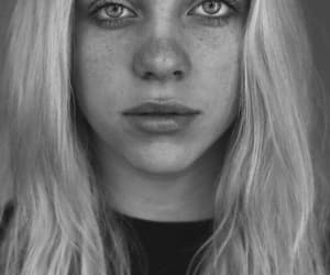 black and white, no makeup, and billie eilish image