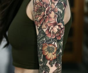 flower tattoo, sleeve, and tattoo image
