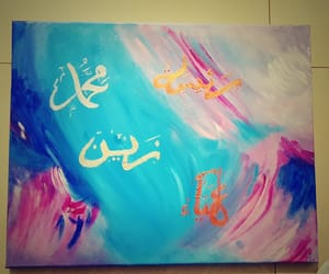 abstract, arabic calligraphy, and blue image