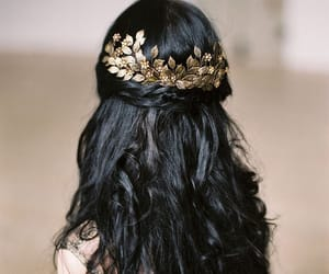 hair, gold, and black image