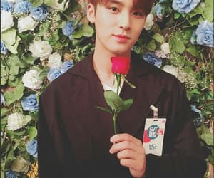mingyu, Seventeen, and flowers image