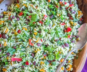 green, recipe, and rice image