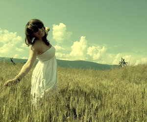 girl, meadow, and summer image