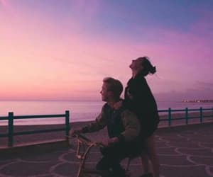 couple, sunset, and sky image
