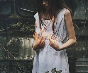 fire, power, and girl image