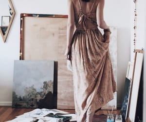 art, girl, and dress image