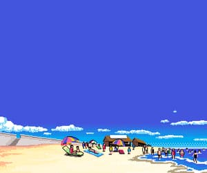 beach, clouds, and pixel art image
