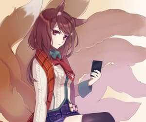 fox, mobile phone, and cute anime girls image
