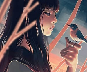 anime, art, and bird image