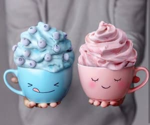 blue, food, and pink image