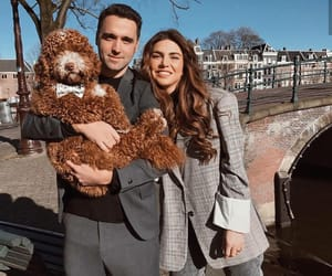 beautiful, couple, and dogs image