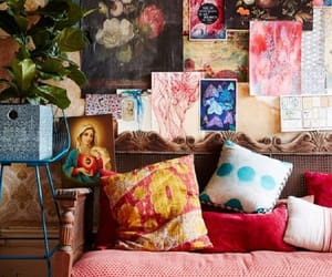 eclectic living room, boho living room, and artist's living room image