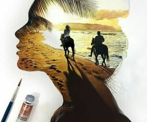 art, beach, and sunset image