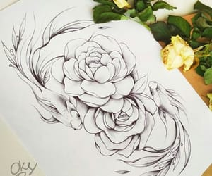 fish, roses, and sketch image