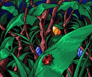 flowers, ladybug, and pixel art image