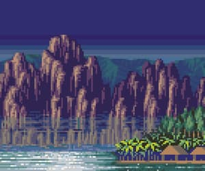mountains, palms, and pixel image