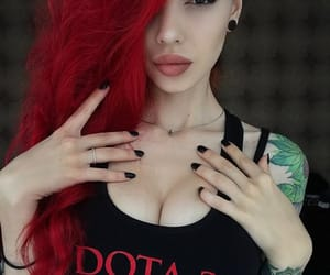 beauty, тату, and красные волосы image