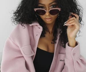 curls, photoshoot, and pink jacket image