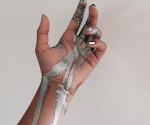 hands, paint, and silver image