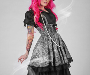 pink hair, ribbon, and tatoo image