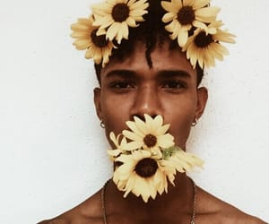 yellow, boy, and flowers image