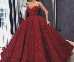 beautiful, gown, and red image