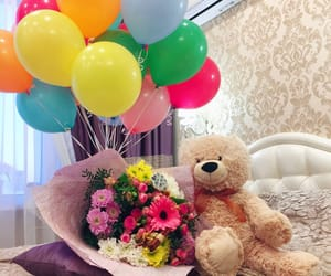 gift, teddy bear, and balloons image