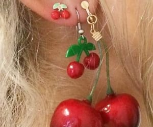 cherry, earrings, and red image