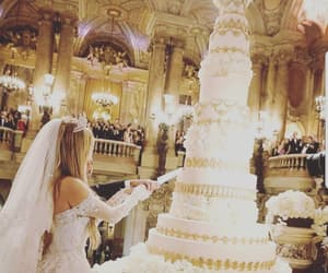 bride, cake, and wedding image