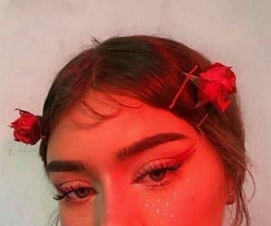 red, girl, and makeup image