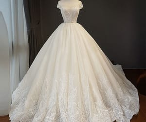 ball gown, wedding, and lace flower image