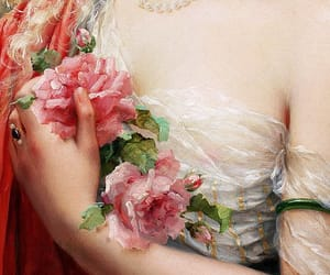 flowers, painting, and pearls image