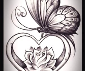 butterfly, heart, and drawing image