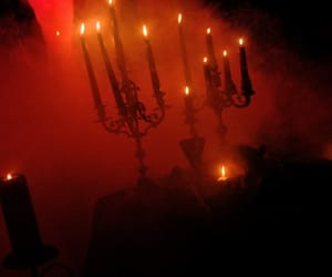 candle, dark, and red image