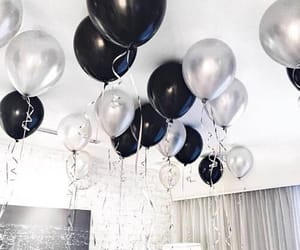 balloons, black, and white image