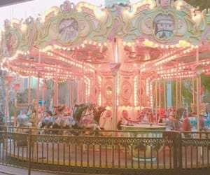carousel, merry go round, and lights image