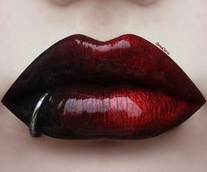 black lipstick, dark makeup, and fashion image