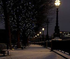 lamps, snow, and nightview image