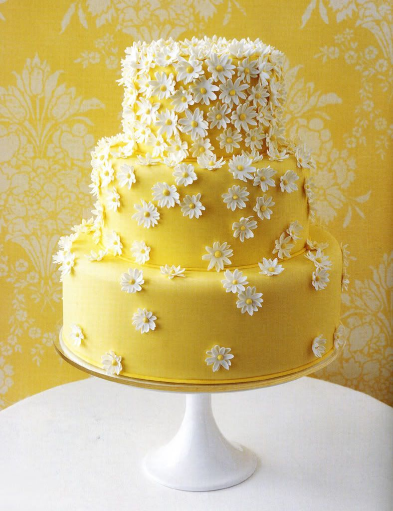 cake, yellow, and flowers image