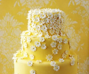 Yellow 3 tier wedding cake with daisy flower decoration by Elle F Designs.