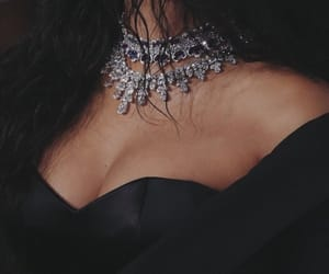 rihanna, black, and necklace image